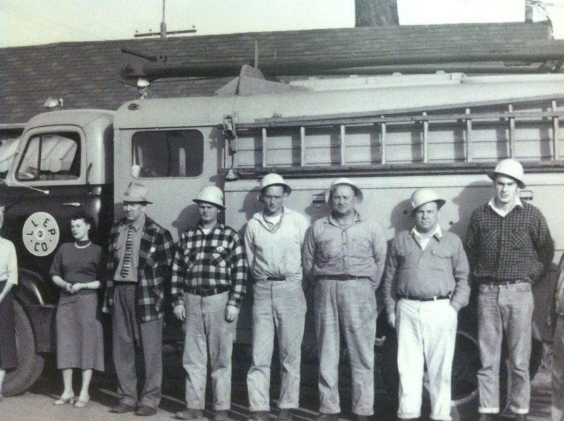Black and white photo of previous crew